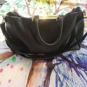 Black Satchel shoulder Bag w/Gold Hardware EUC